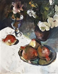 still life with flowers and fruits by louis van heerden