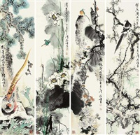 flowers and birds (set of 4) by jiang feng