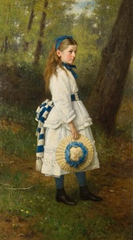 girl in woodland by george reid
