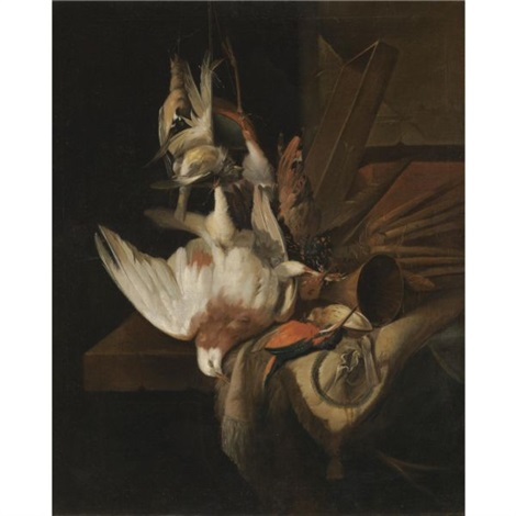 a still life with song birds and hunting gear by william gowe ferguson