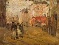 scène de rue animée by emile gastemans