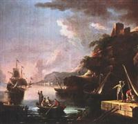italienische küstenlandschaft mit segler und figurenstaffage by pietro antoniani