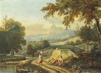 an extensive river landscape with figures conversing on a bank, mountains beyond by jan frans van bloemen