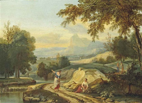 an extensive river landscape with figures conversing on a bank mountains beyond by jan frans van bloemen