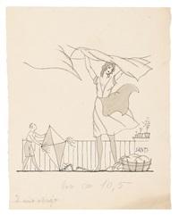 atleta con medaglie, donna che stende i panni e bambino con aquilone, e uomo appoggiato a un albero (3 works) by bruno santi