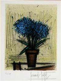 bouquet of blue flowers by bernard buffet