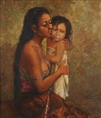 indonesian woman comforting her child by colonial school