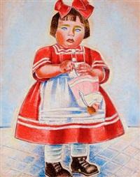kislány piros masnival by jozsa jaritz