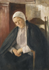 sitzende frau in interieur by wally (walburga wilhelmina) moes