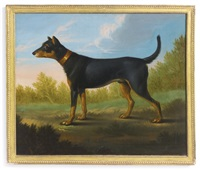 a black and tan dog in a landscape by continental school