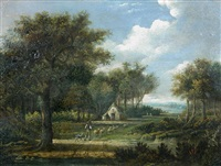 a shepherd, sheepdog and sheep before a cottage by patrick nasmyth