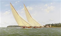 candida and astra off the royal yacht squadron, isle of wight by richard m. firth