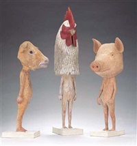 silent neighbor: ox, hog, rooster (set of 3 works) by fumio yamazaki