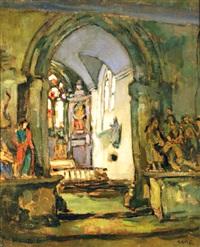 intérieur de la chapelle locronan by georges gobo