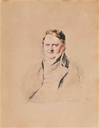 portrait of a gentleman, half-length, vignette by john linnell
