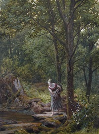 young girl gathering firewood, crossing a wooded stream by james barnes