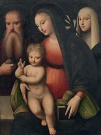 madonna col bambino e i santi girolamo e caterina da siena by andrea piccinelli