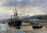 fishing boats and figures on the sands, scarborough (+ cornish herring boats in the harbor at low tide; pair) by robert ernest roe