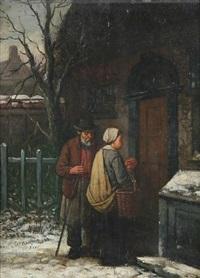 mendiants devant la porte by adrien ferdinand de braekeleer