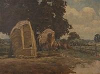 haystooks in a landscape, fittleworth by edward wilkins waite