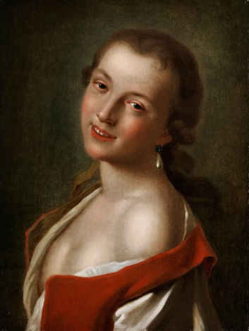 halbbildnis eines jungen lächelnden mädchens mit tropfenförmigem perlohrring by pietro antonio rotari