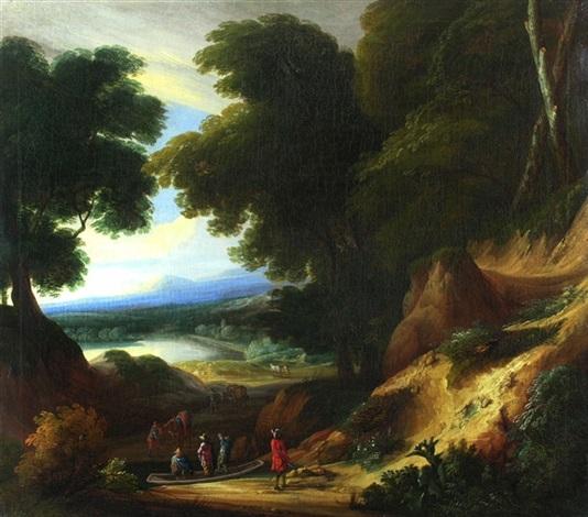 waldlandschaft mit figurenstaffage by philippe van dapels