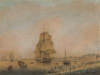 segelschiffe vor der kulisse einer stadt by samuel hutchinson