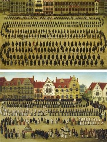 la procession des guildes la procession de notre dame du sablon pendant la fête de lommegang à bruxelles en 1615 paire by denis van alsloot