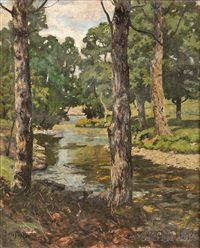 trees along the banks of a stream by ben foster