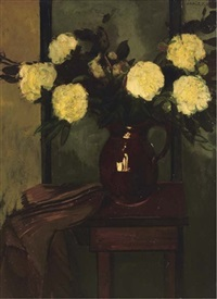 a still life with peonies in a vase by louis saalborn