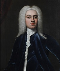 a portrait of a gentleman wearing blue jacket, white chemise, necktie and grey wig by thomas hudson