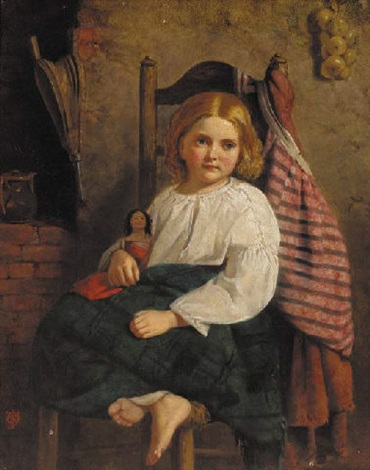 a young girl with a doll by js oakley