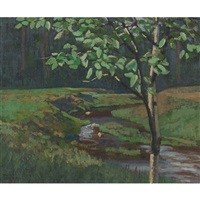 stream in a clearing by edmund wyly (sir) grier