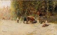 vacher surveillant ses vaches s'abreuvant à une fontaine by adolphe appian