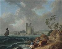 fishermen pulling in their boat, carnarvon castle beyond by julius caesar ibbetson