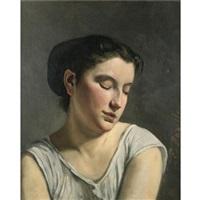 jeune fille aux yeux baissés by frédéric bazille