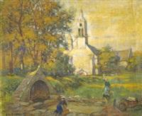 lavandières près de l'église by charles leon godeby
