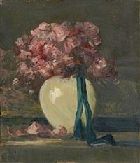 rosa blumen in weißer vase by anton müller-wischin
