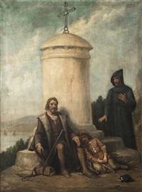 cristóbal colón con su hijo en la rábida by josé maria rodríguez de losada
