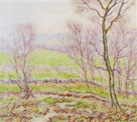 impressionistic country landscape by hugo melville fisher