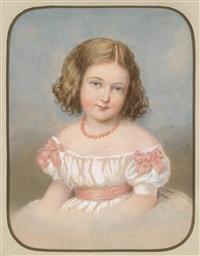 bildnis eines kleinen mädchens in weißem kleid mit rosa schleifen by emanuel thomas peter