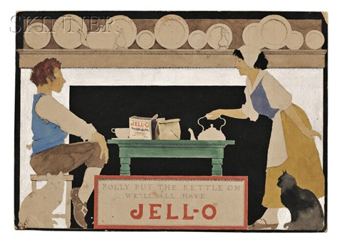 polly put the kettle on well all have jell o advertisement study by maxfield parrish
