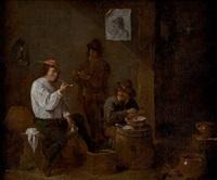 campesinos fumando en un meson by matheus van helmont