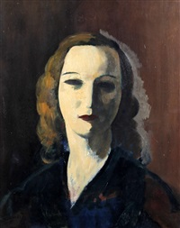 portrait of a woman, head and shoulders, wearing a dark blue dress with flecks of red by jacob kramer