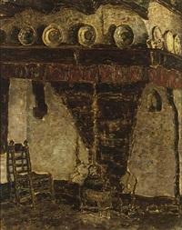 a farm interior, brabant by jan adam zandleven