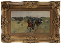 two cavalry regiments on a hilltop by josep (josé) cusachs y cusachs
