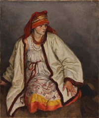 girl in mordovian costume by pavel petrovich sokolov-skalua
