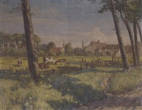 cattle in a meadow by vernon ward