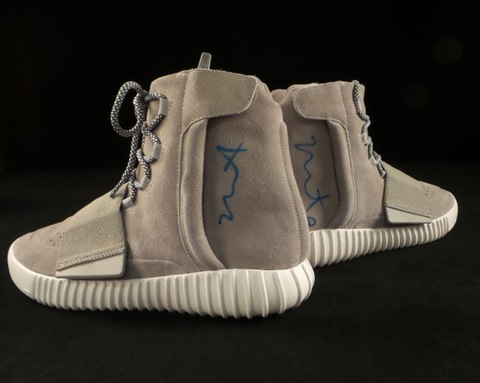 Signed Yeezy 750 Boost shoes by Kanye