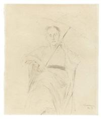 sitzende dame mit schirm by max liebermann